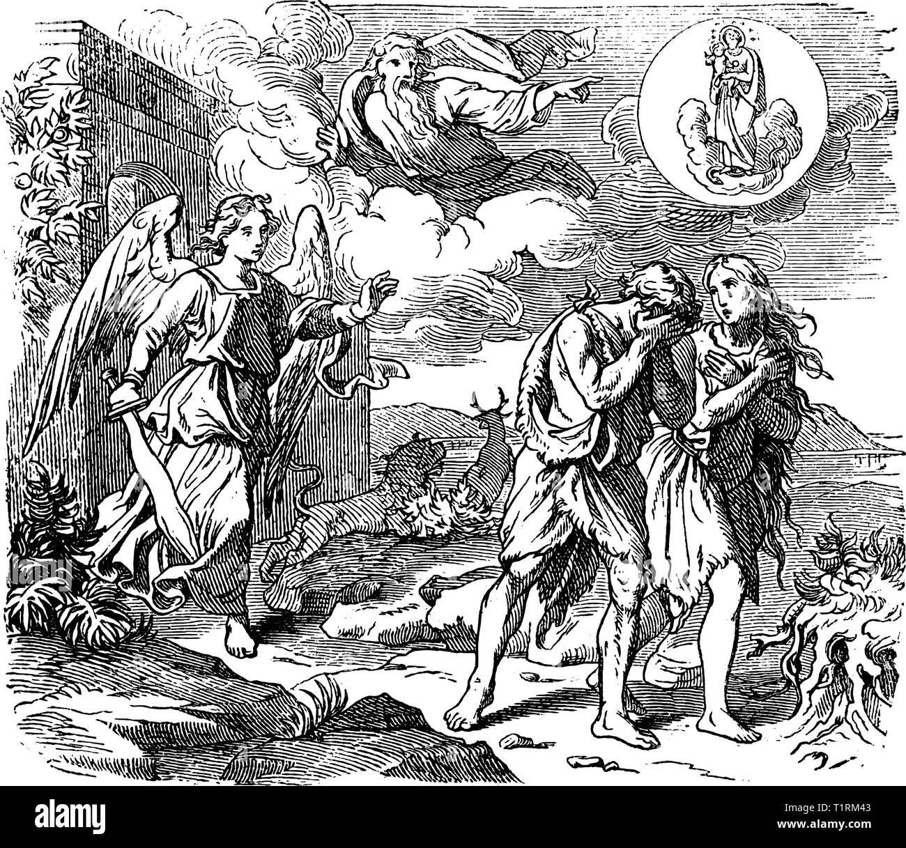 Vintage antique illustration and line drawing or engraving of biblical Adam and Eve leaving Garden of Eden. Expulsion from paradise by angel or cherubim with flaming sword.Genesis 3:24. - Stock Vector