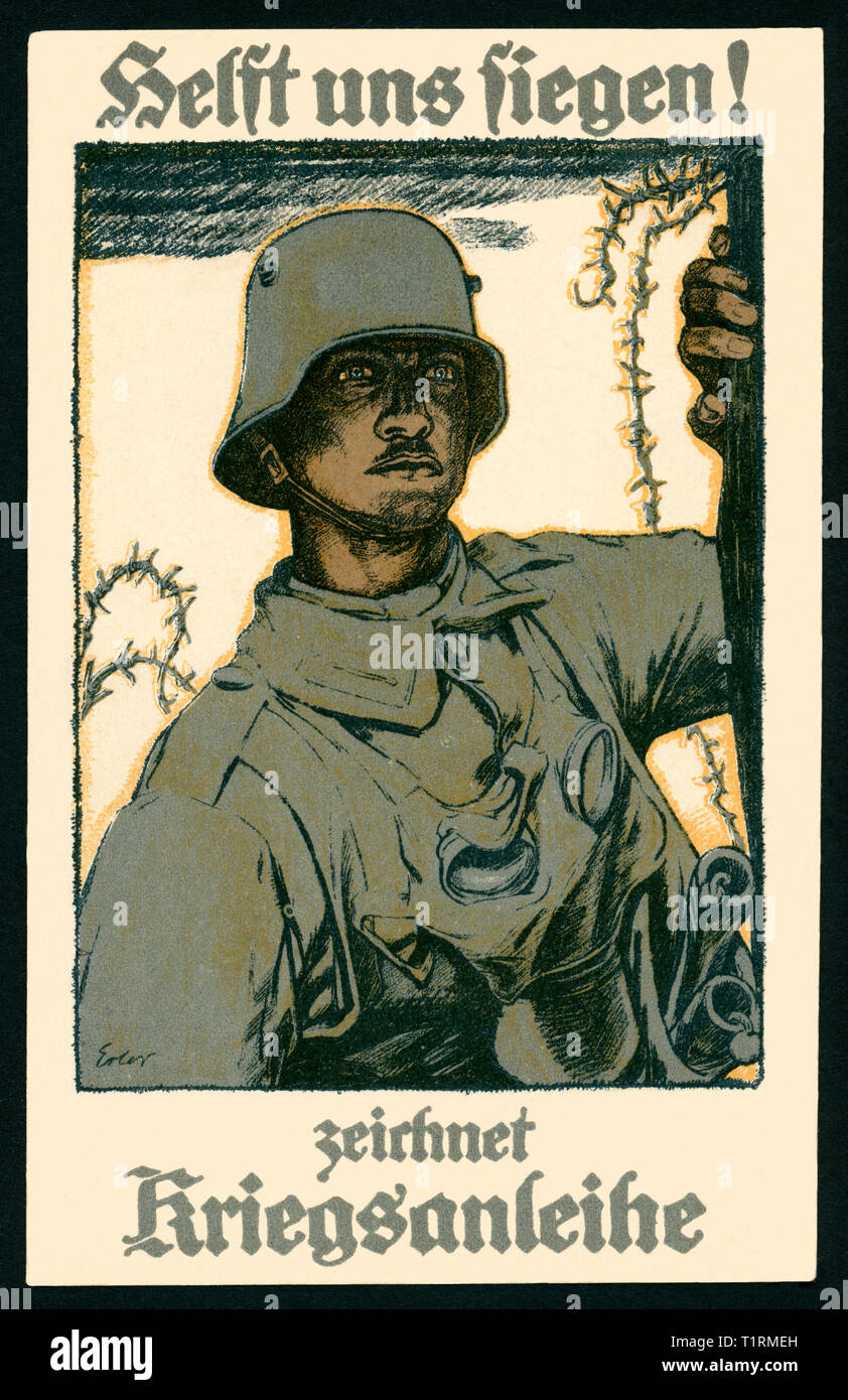 Germany, North Rhine-Westphalia, Godesberg, WW I, patriotic postcard with the text: 'Helft uns siegen ! zeichnet Kriegsanleihe' (Help us to be victorious ! buy war loan), and a drawing of an soldier, artist postcard by the German painter Fritz Erler (1868-1940), printed by Selmar Bayer, Berlin, postcard sent 21. 05. 1917. , Additional-Rights-Clearance-Info-Not-Available - Stock Image