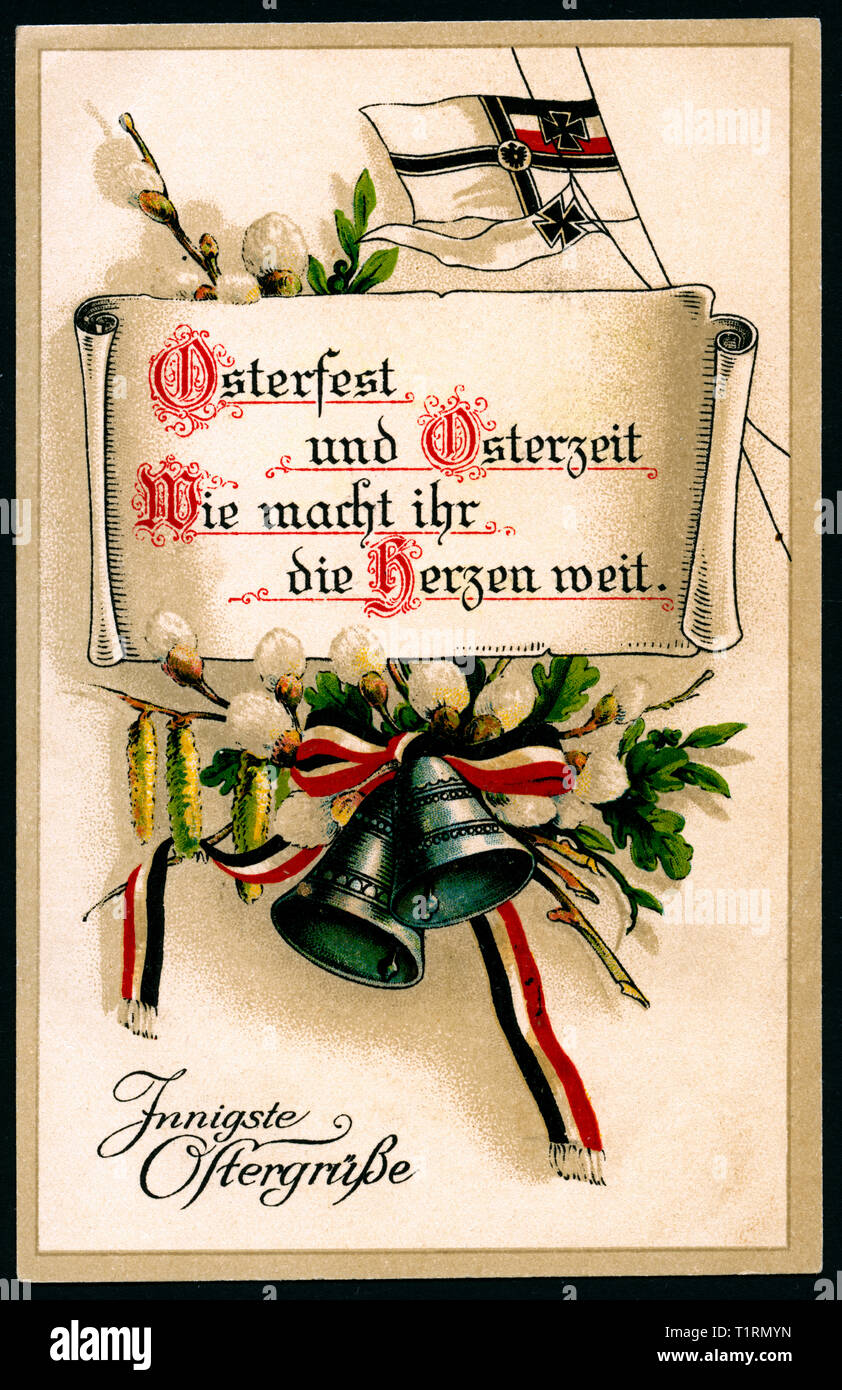 Germany Berlin WW I Propaganda Patriotic Happy Easter Postcard With The Text Osterfest Und Osterzeit