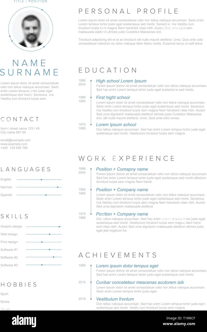 Vector minimalist cv / resume template with blue accent and ...