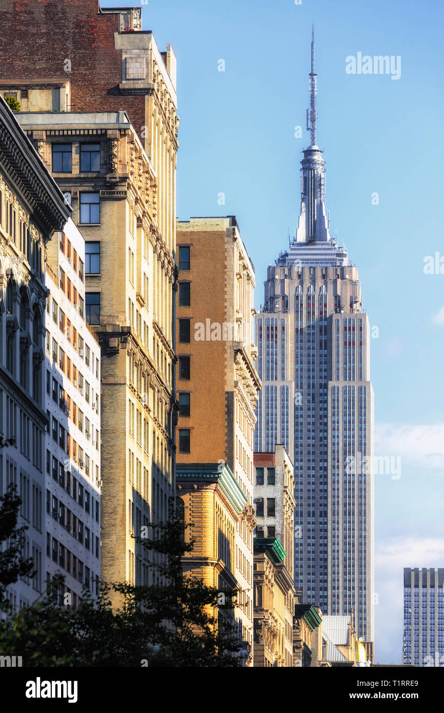 Empire State Building, New York City, New York State, USA.  The 102 storey Art Deco building designed by the architectural firm Shreve, Lamb & Harmon  - Stock Image