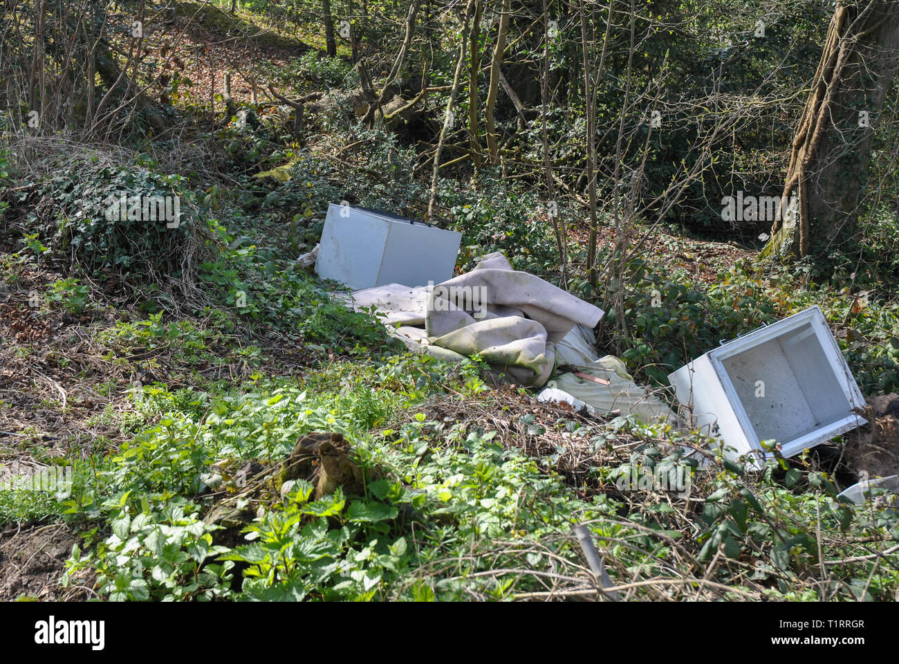 Local councils are struggling to tackle escalating fly-tipping as their budgets are cut and courts fail to impose the toughest sentences available - Stock Image