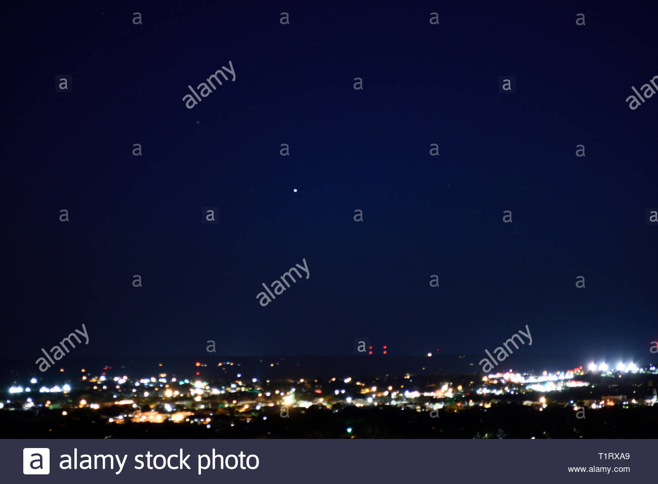 Canopus Star over Texas. Canopus in Carina The Keel of the Argo Navis Constellation. Bright Star Canopis Alpha Carinae. Canopus over Fredericksburg TX - Stock Image