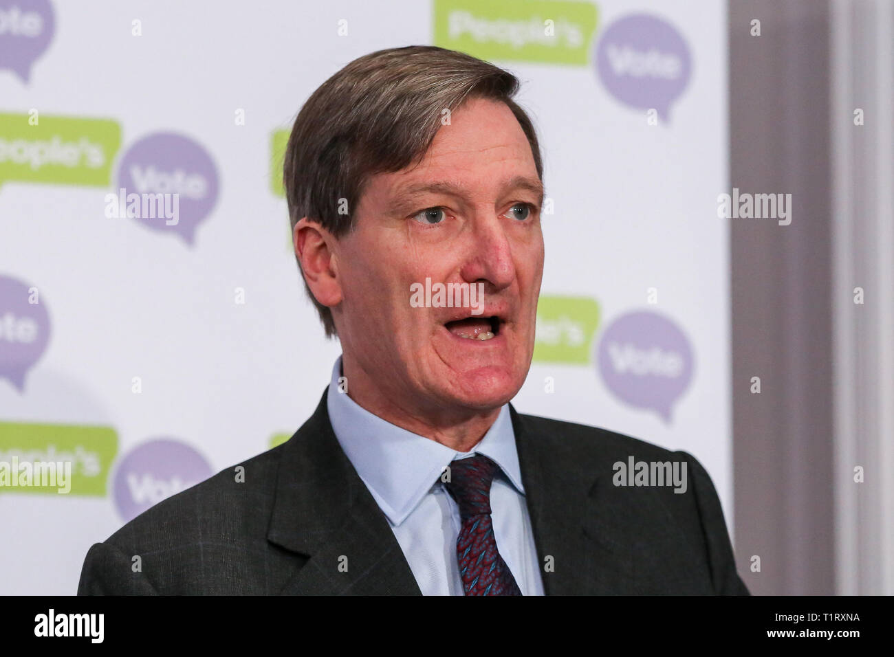 Dominic Grieve MP - Conservative former Attorney General is seen speaking at a People's Vote press conference in Westminster setting out an analysis of the different Brexit options facing Members of Parliament in indicative votes. British Prime Minister Theresa May told the backbench Tory MPs this evening that she will stand down if they back her EU withdrawal deal. Stock Photo