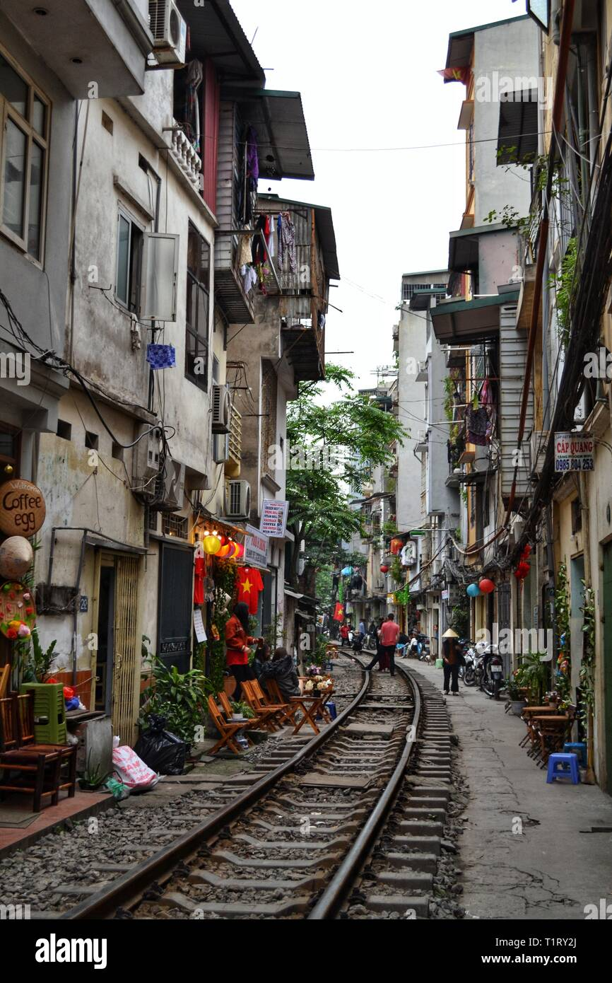 Hanoi train street during the day in Vietnam - Stock Image
