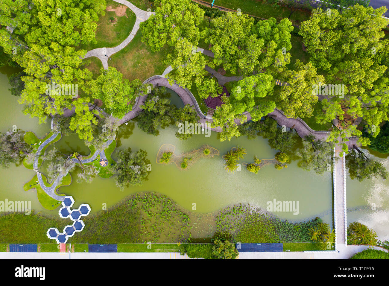 Aalternative perspective aerial view of Toa Payoh Town Park in Singapore. - Stock Image