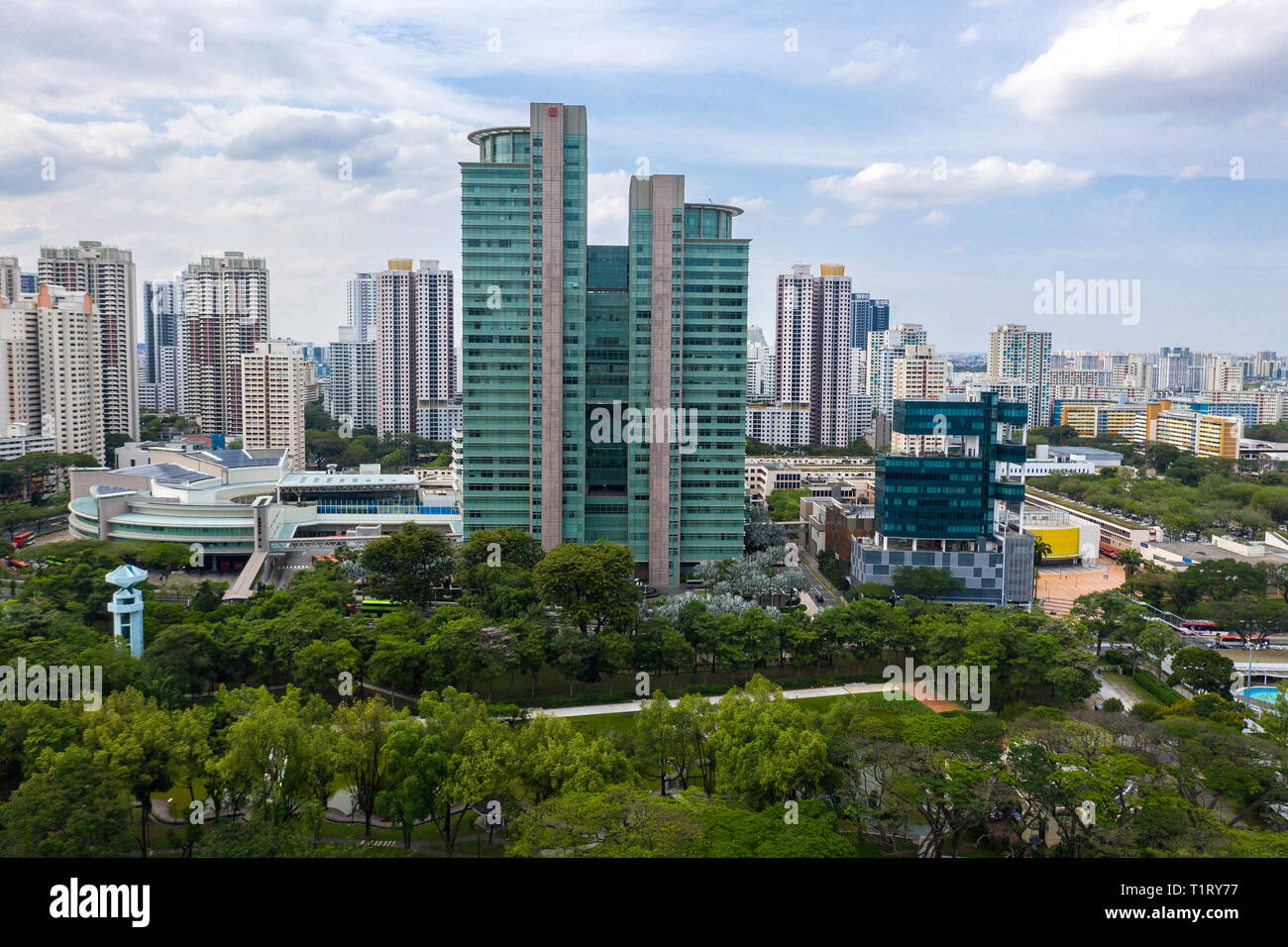 Aerial cityscape view of HDB Hub and other architectures building at Toa Payoh. - Stock Image