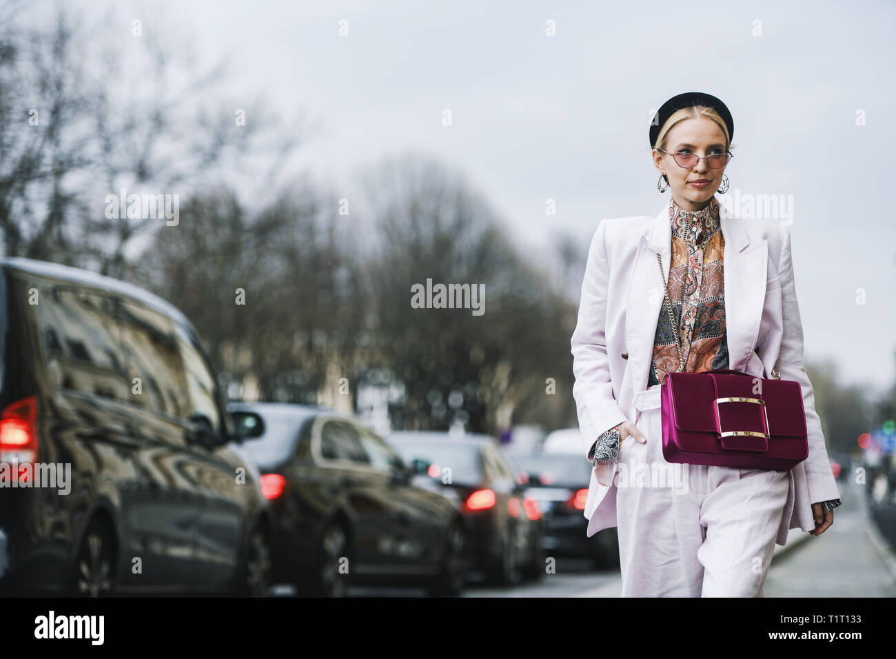Paris, France - February 28, 2019: Street style outfit -  Leonie Hanne before a fashion show during Paris Fashion Week - PFWFW19 - Stock Image