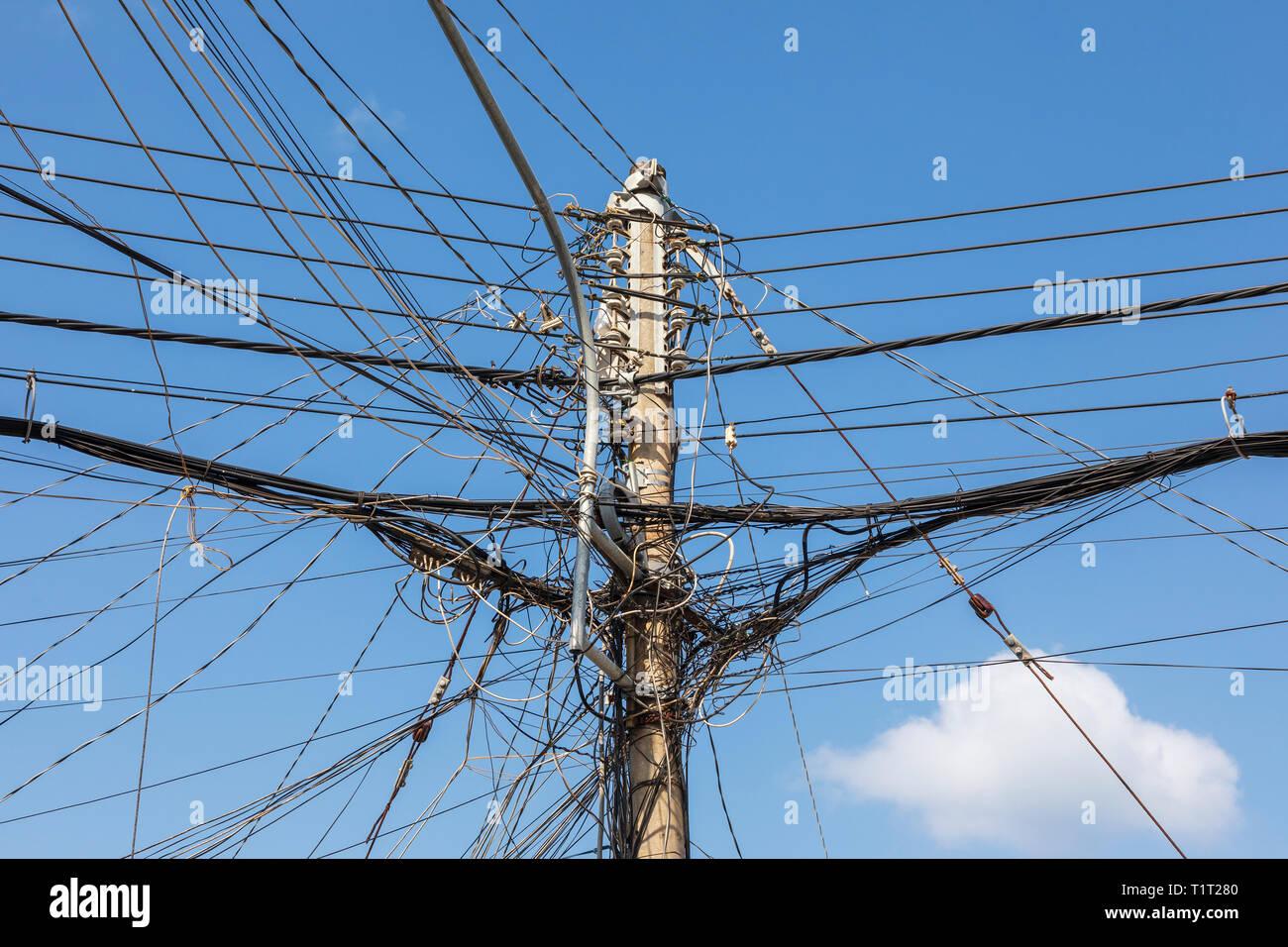 Power cables, Dinh Cau village, Pho Quoc island, Vietnam, Asia Stock Photo