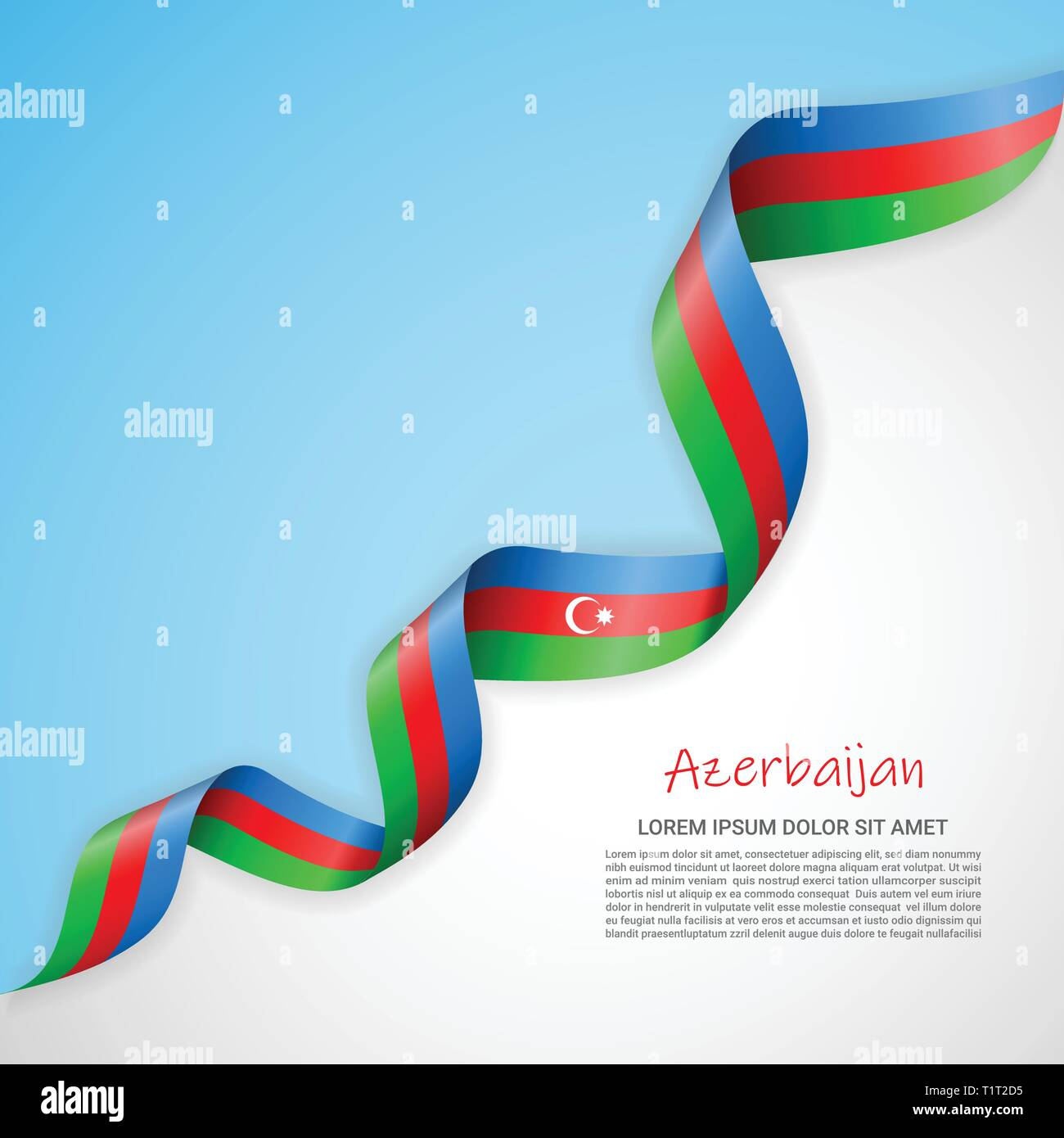 Vector banner in white and blue colors and waving ribbon with flag of Azerbaijan. Template for poster design, brochures, printed materials, logos - Stock Vector