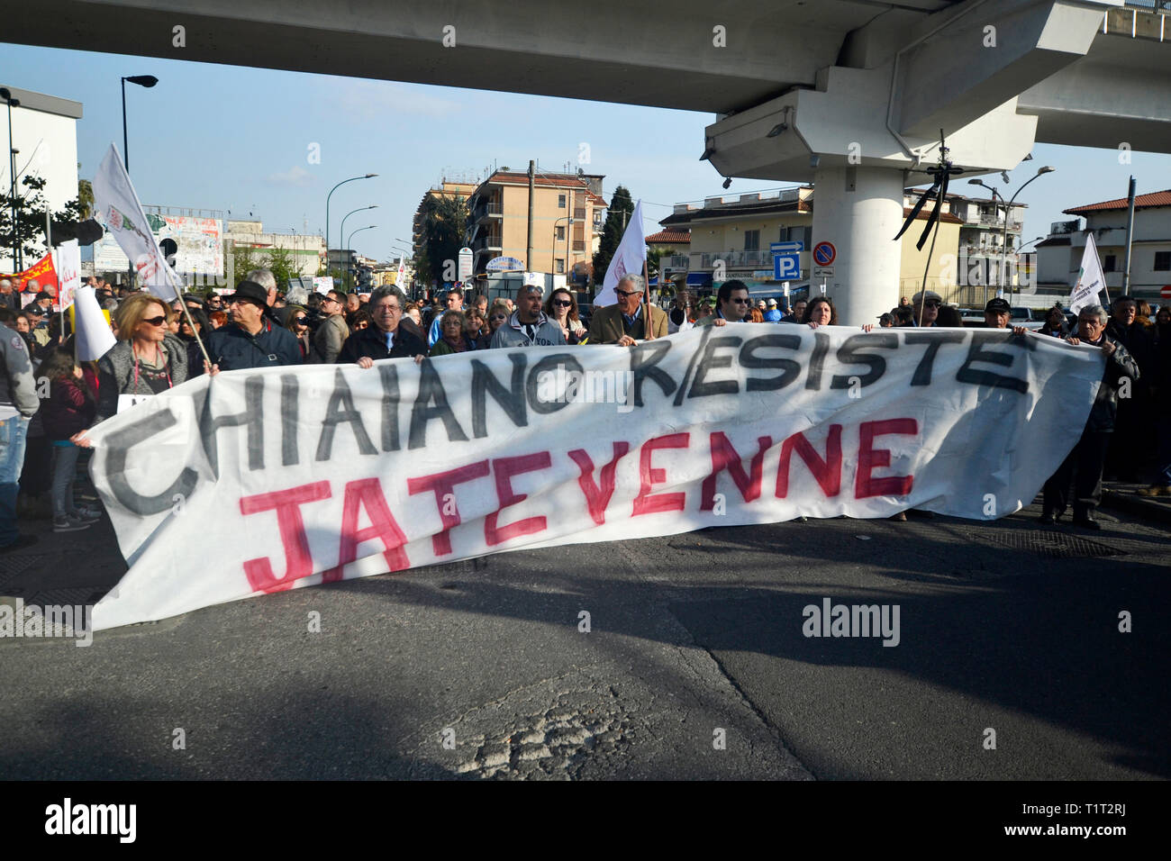 Demonstration in Chiaiano, a suburb of Naples. City's inhabitants are protesting against the will of the government to build a new landfill - Stock Image