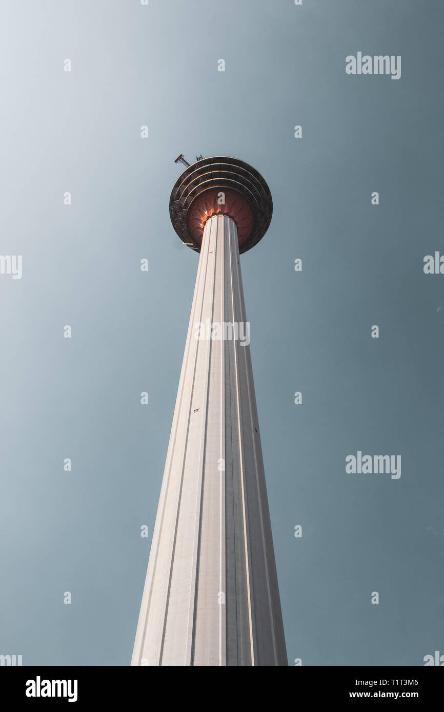 The Kuala Lumpur Tower is a communications tower located in Kuala Lumpur, Malaysia. Its construction was completed in 1995. It is 421m tall. - Stock Image