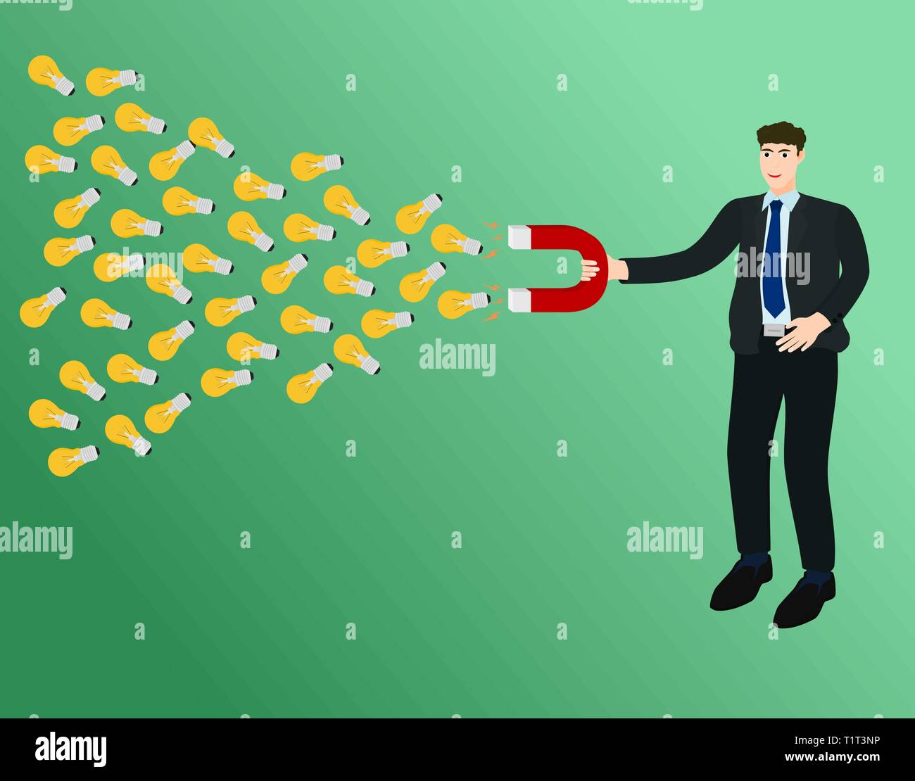 Businessman use magnet attract many idea , success concept - Stock Vector