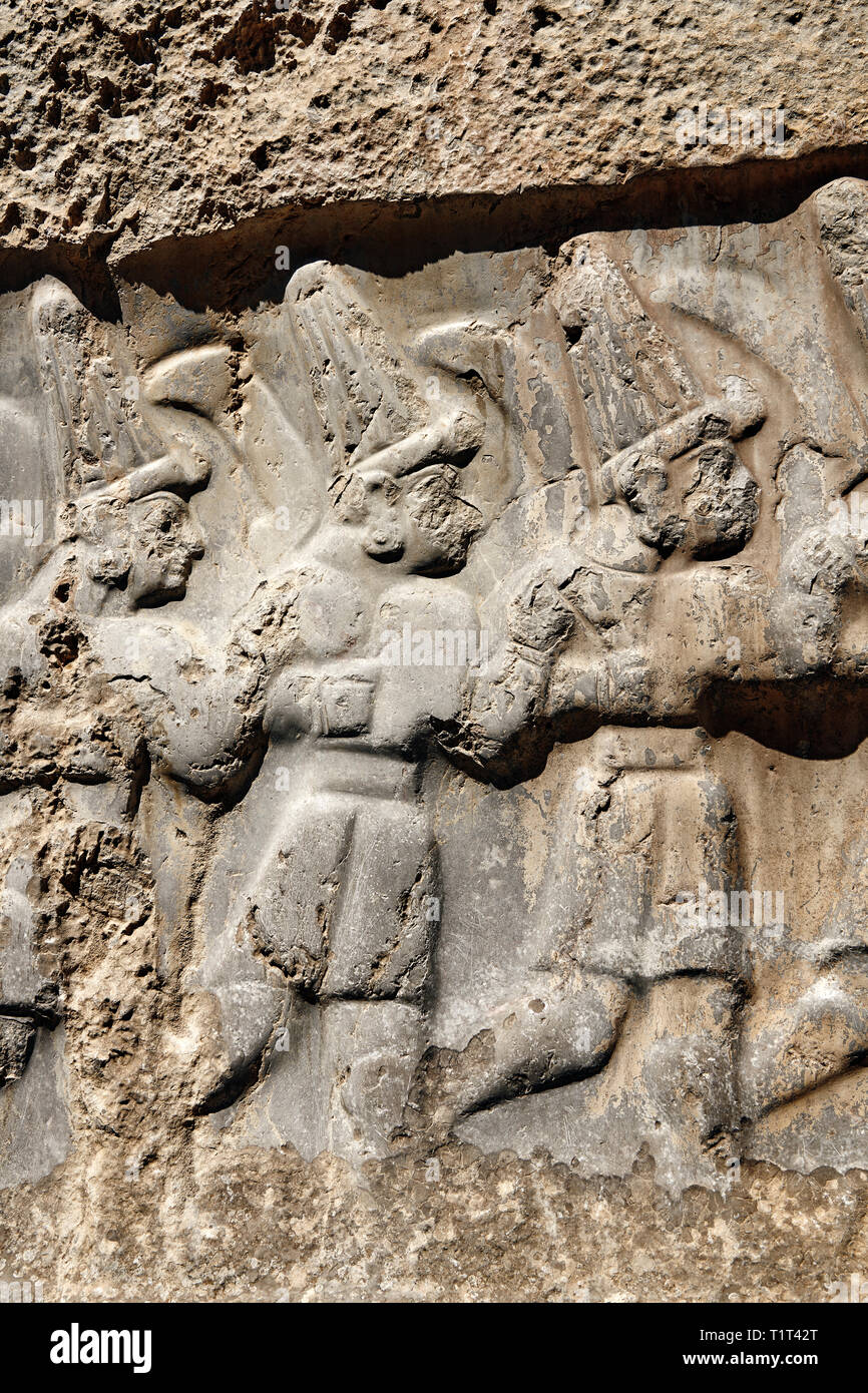 Close up of the sculpture of the twelve gods of the underworld from the 13th century BC Hittite religious rock carvings of Yazılıkaya Hittite rock san - Stock Image
