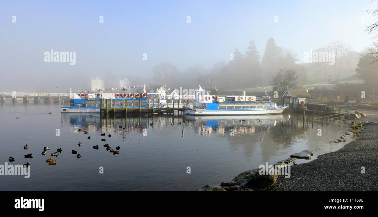A misty morning at Bowness on Windermere,Lake District,Cumbria,England,UK Stock Photo