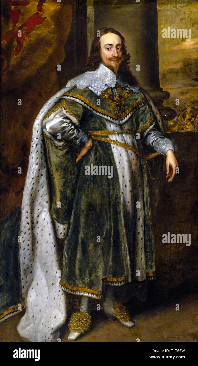 Portrait of King Charles I in his robes of state, 1636, follower of Anthony van Dyck - Stock Image