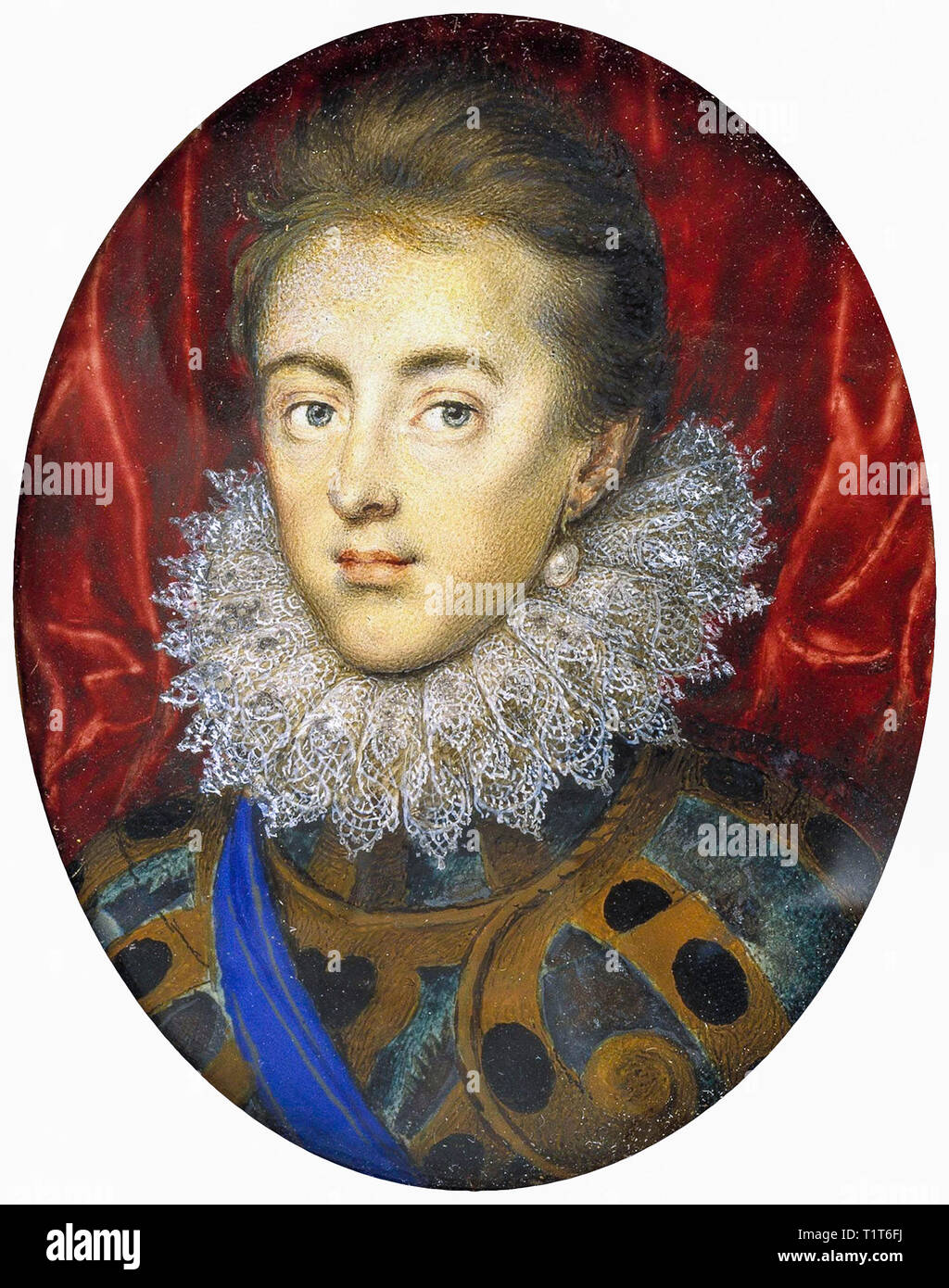 Charles, Prince of Wales (later Charles I) as a young man in 1615, Isaac Oliver - Stock Image