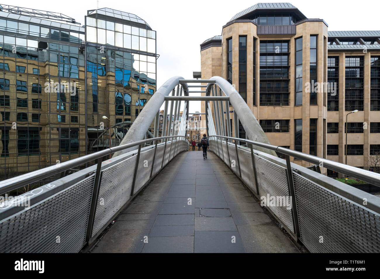 Pedestrian footbridge linking Exchange Crescent with Rutland Square in central Edinburgh, Scotland ,UK - Stock Image