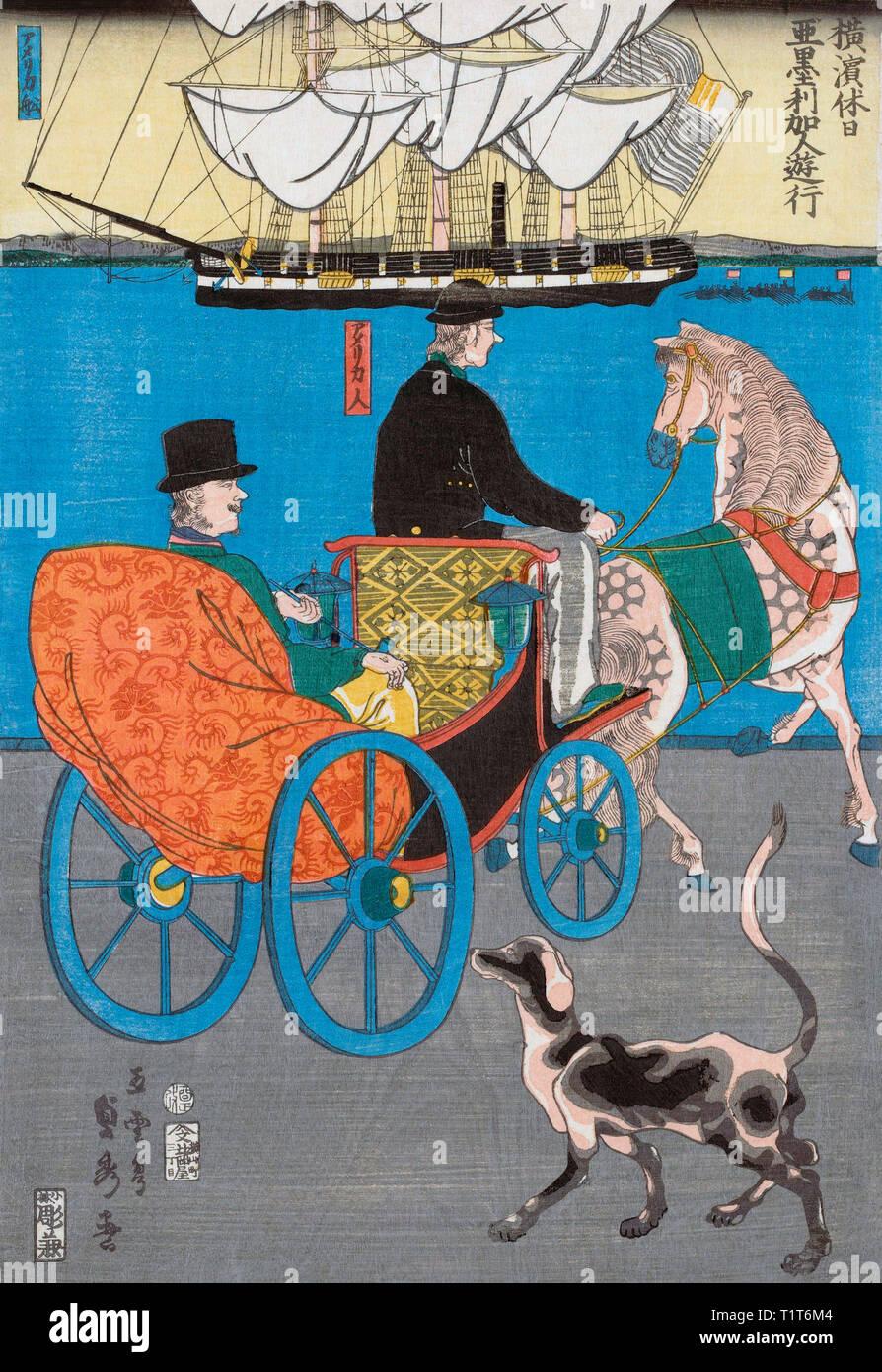 A tourist takes a horse and cart ride around the harbour of Yokohoma, Japan.  After a print by Japanese artist Utagawa Sadahide, 1807-1878/79, aka Gountei Sadahide. - Stock Image