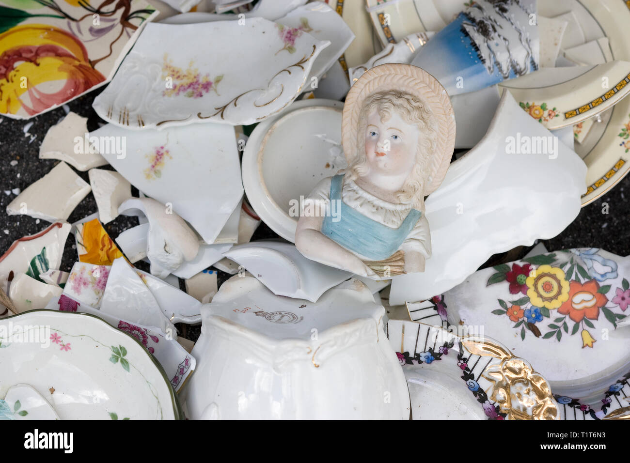 Wreckage of housewares after a Severe storm - Stock Image