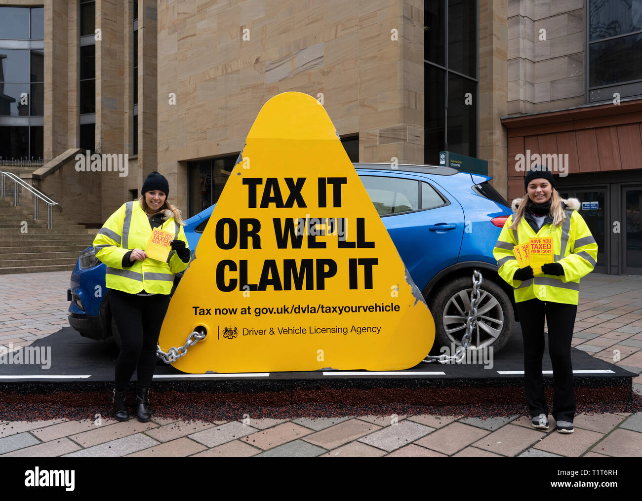DVLA ( Driver & Vehicle Licensing Agency) public campaign to promote car tax in central Glasgow, Scotland, UK - Stock Image