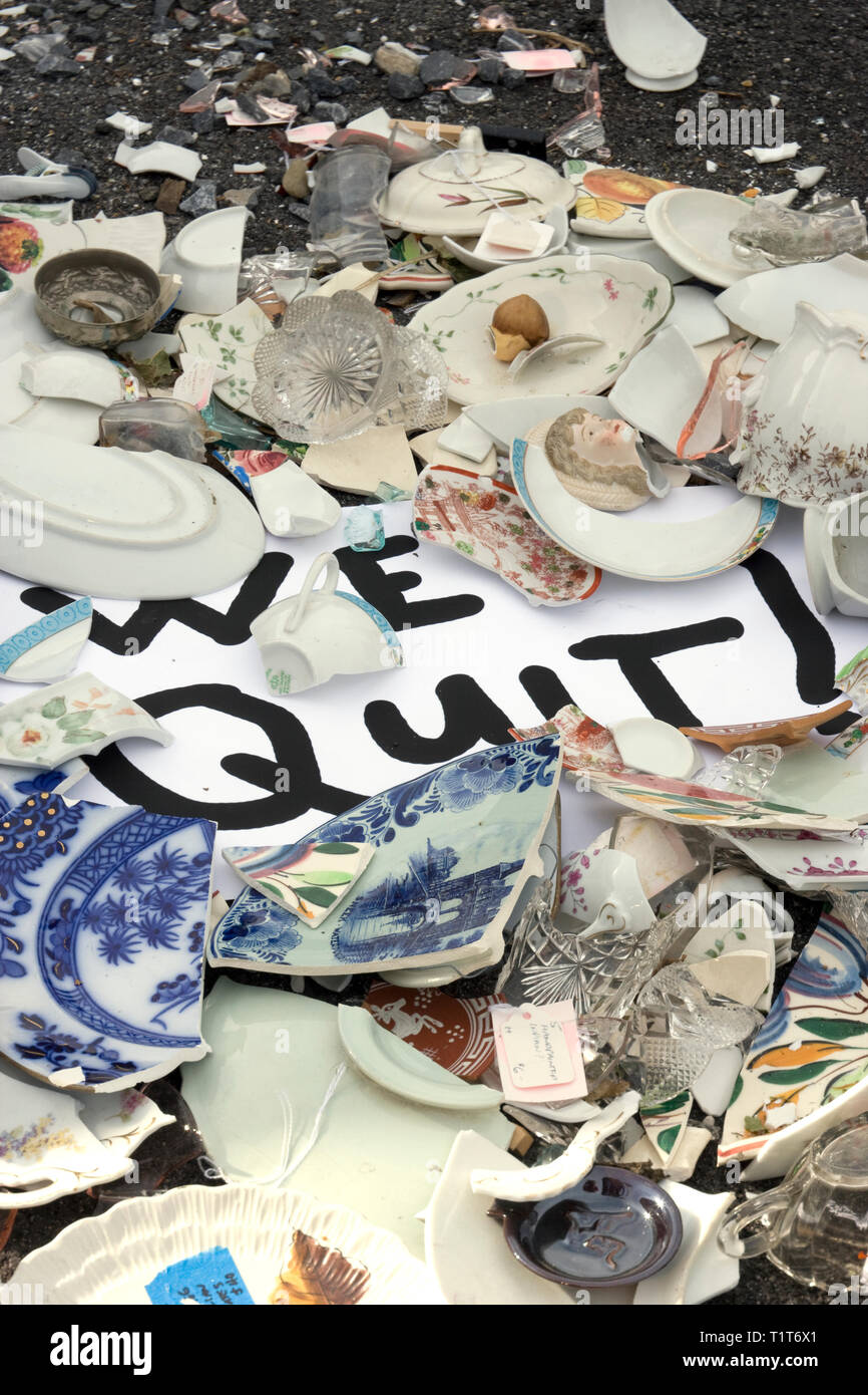 Business quits after the last damaging storm - Stock Image