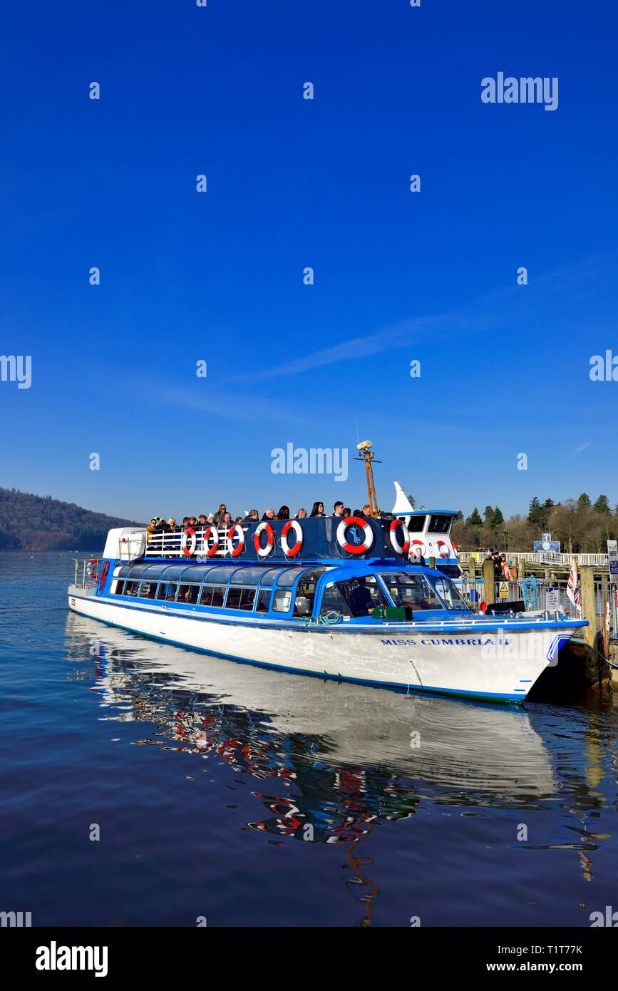 Windermere Lake Cruises,Miss Cumbria,waiting to depart from Bowness on Windermere, with a late afternoon cruise on Lake windermere,Lake District,UK Stock Photo