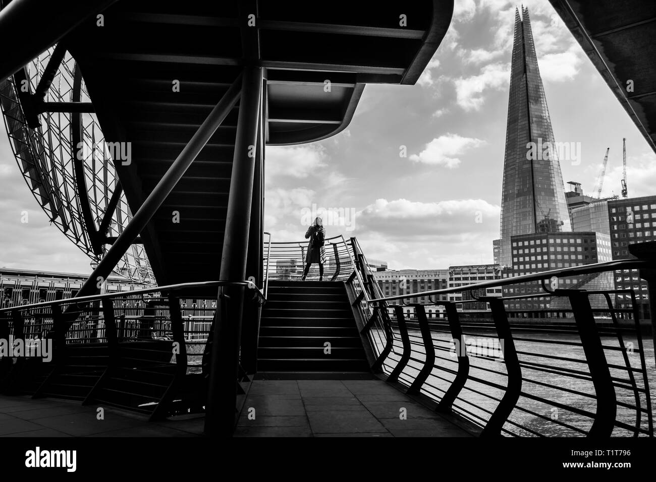 London black and white urban photography: River Thames and the Shard from London Bridge. - Stock Image