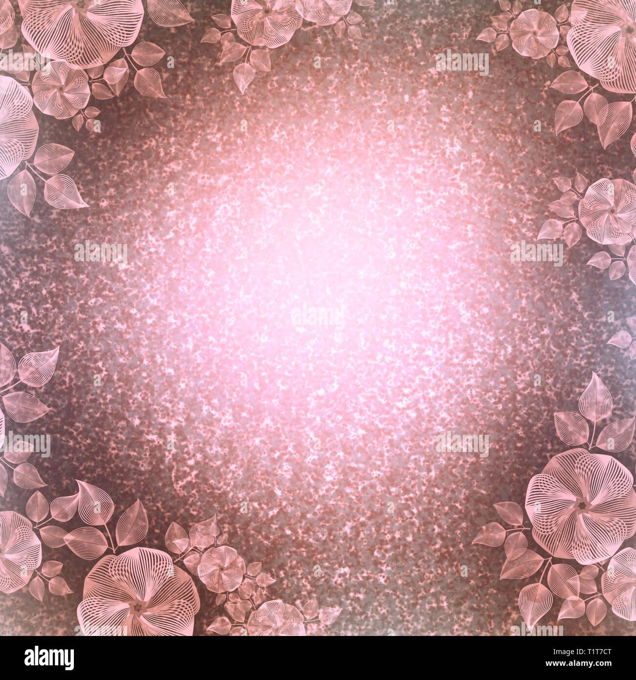 Vintage Wallpaper Floral Vignette Cream And Pink