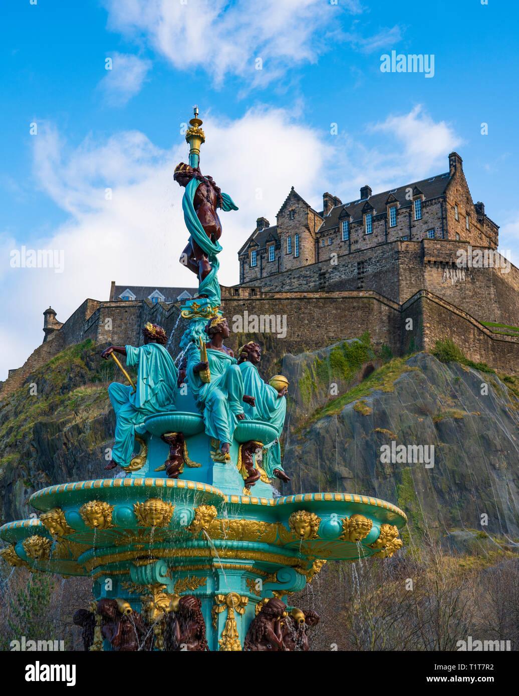Ross Fountain in original colours after 2018 renovation with Edinburgh Castle to rear in Princes Street Gardens, Edinburgh, Scotland ,UK Stock Photo
