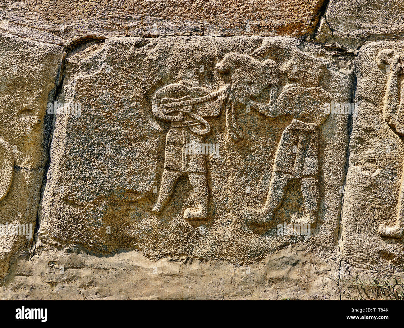 Pictures & Images Hittite relief sculpted orthostat panels of the Sphinx Gate. Panel depicts musicians. Alaca Hoyuk (Alacahoyuk) Hittite archaeologica - Stock Image