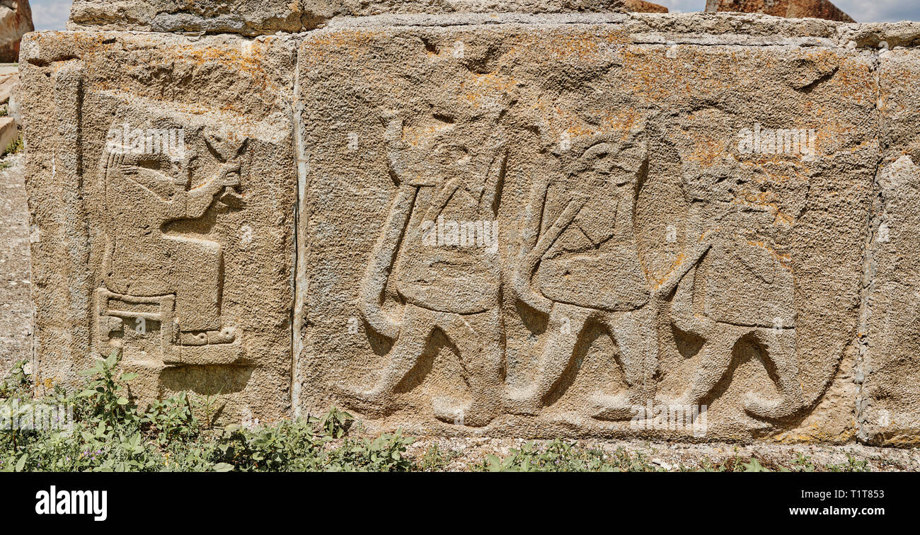 Pictures & Images Hittite relief sculpted orthostat panels of the Sphinx Gate. Panel depicts a procession making offerings to a lion god. Alaca Hoyuk  - Stock Image