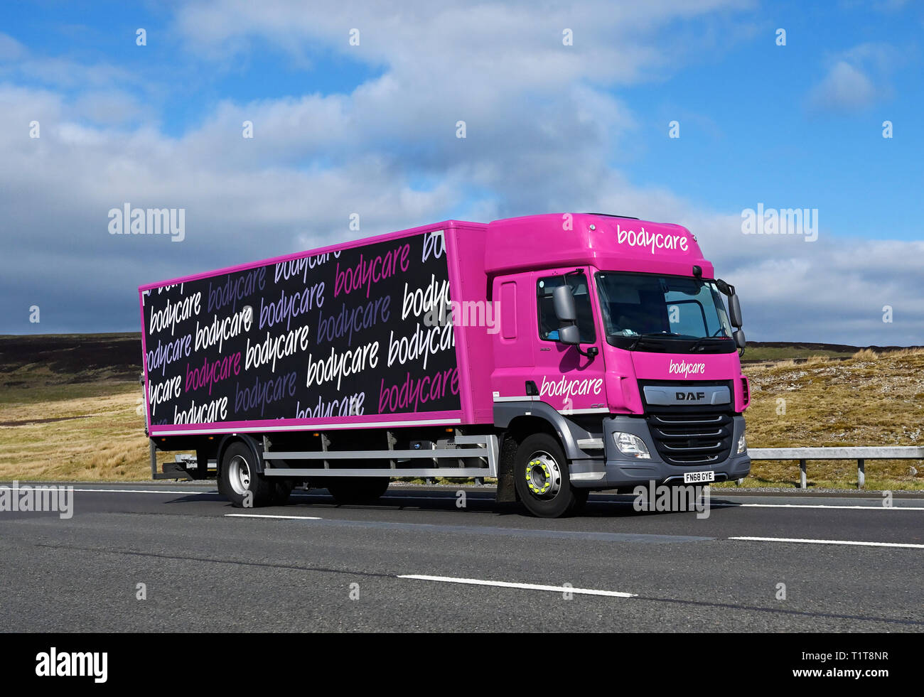 Bodycare HGV. M6 Motorway, Southbound, Shap, Cumbria, England, United Kingdom, Europe. - Stock Image