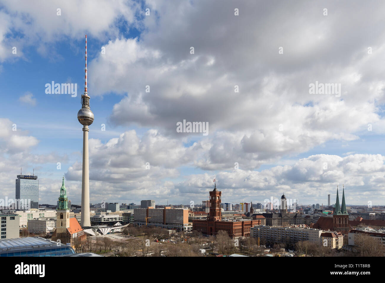 St. Marienkirche, Fernsehturm TV Tower, Rotes Rathaus and other landmarks and buildings at the downtown Berlin, Germany, on a sunny day in March. Stock Photo