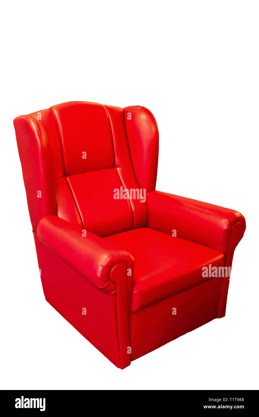 red leather armchair isolated - Stock Image