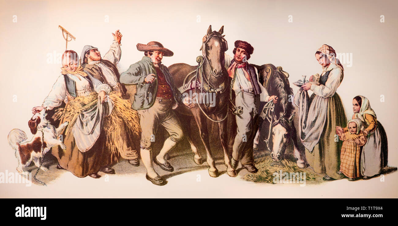 19th Century country folk,celebrating the collection of the harvest, Sweden. - Stock Image