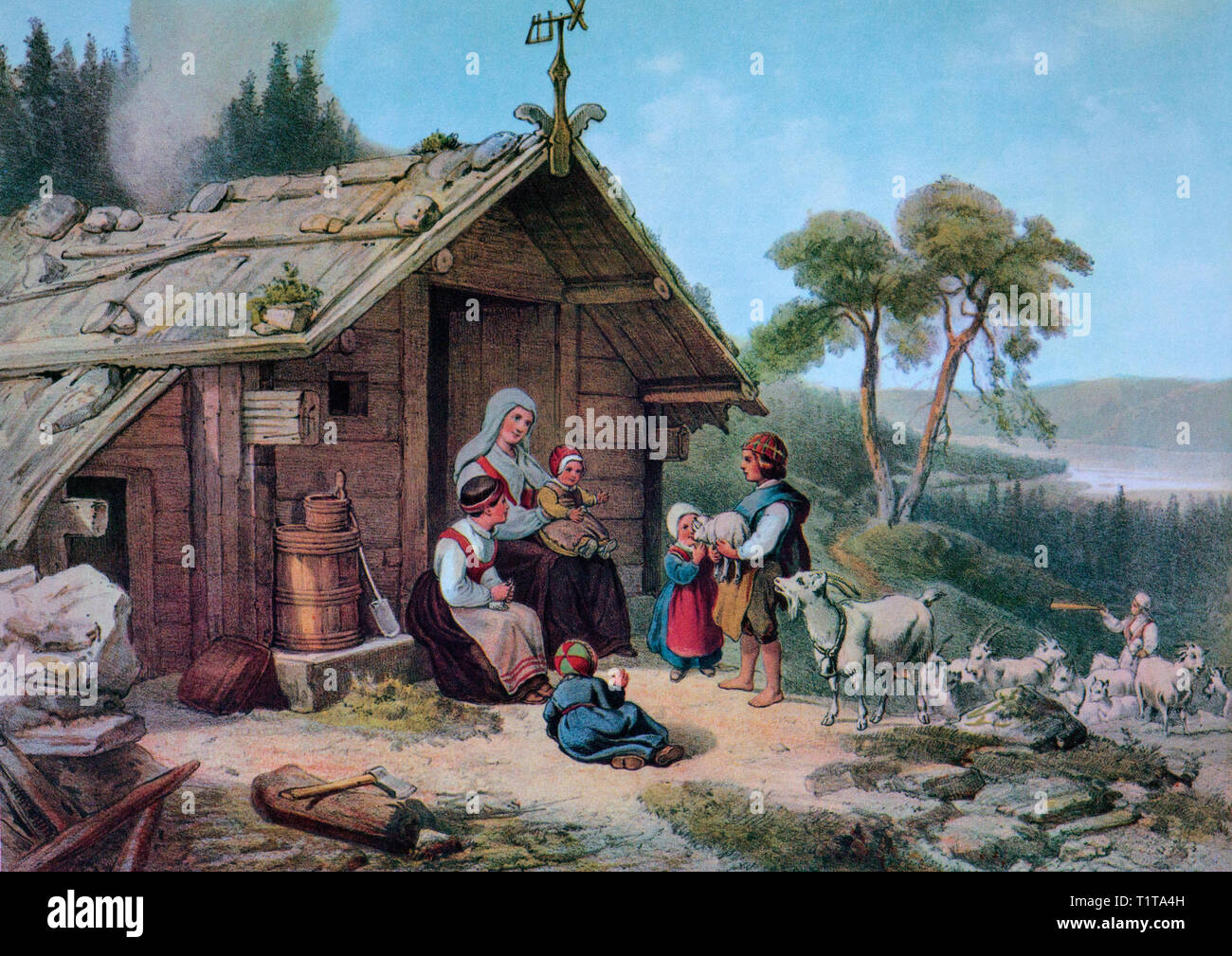 The wife and family of a goat  herdsman by their cottage in Dalarna, a historical province (or landskap) in central Sweden. - Stock Image