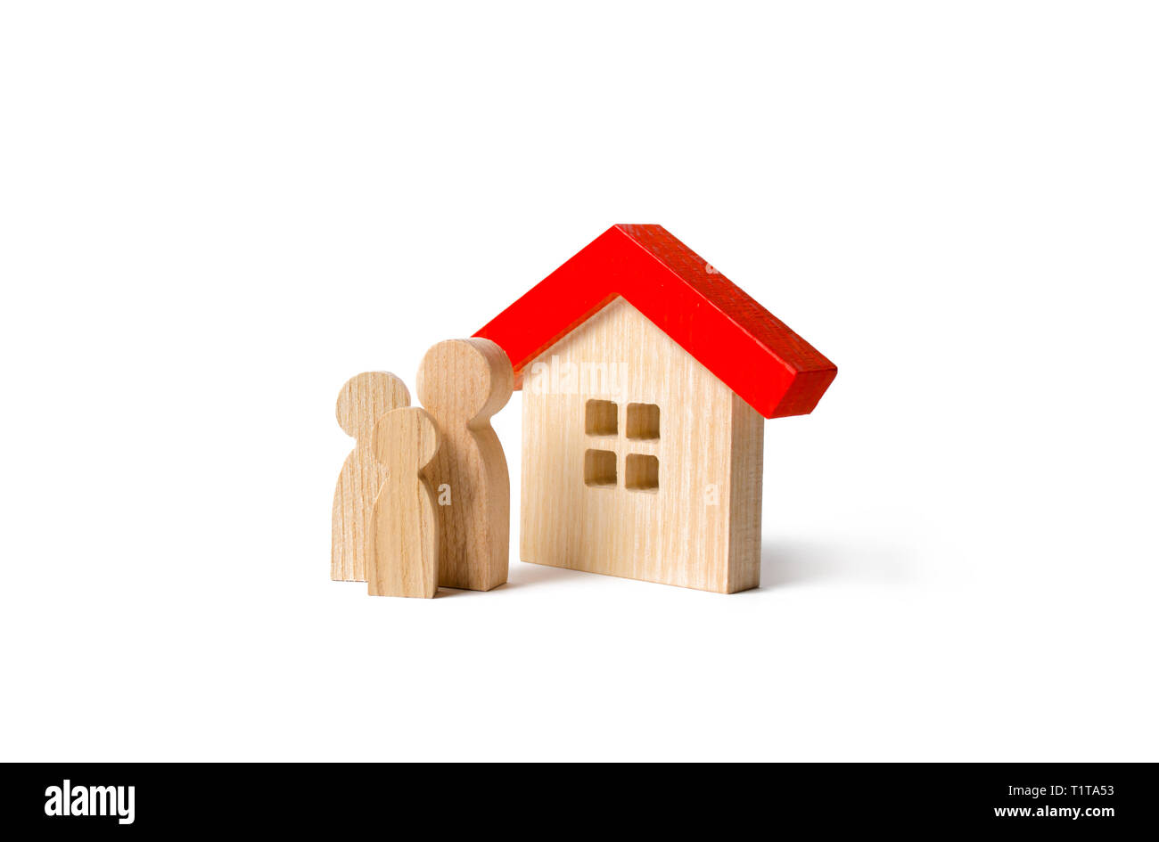 Figures of the family and house on an isolated background. real estate, your own home. Buying or selling. Affordable housing on credit or mortgage. Re - Stock Image