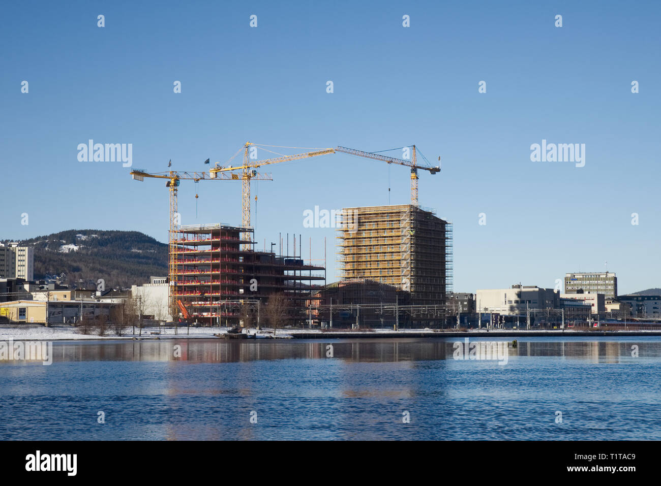 New buildings construction work Norway - Stock Image