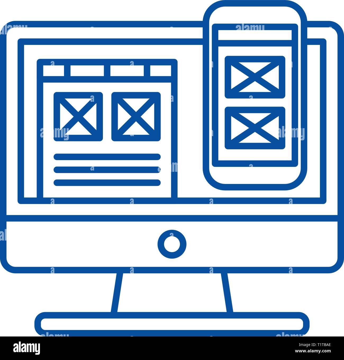 Responsive app design line icon concept. Responsive app design flat  vector symbol, sign, outline illustration. - Stock Image