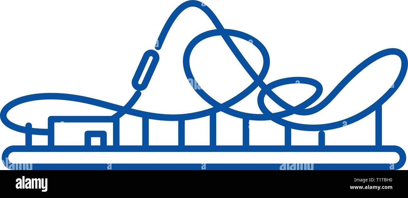 Roller coaster line icon concept. Roller coaster flat  vector symbol, sign, outline illustration. - Stock Vector