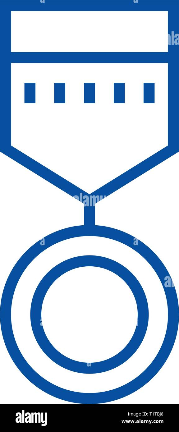Round medal  line icon concept. Round medal  flat  vector symbol, sign, outline illustration. - Stock Image