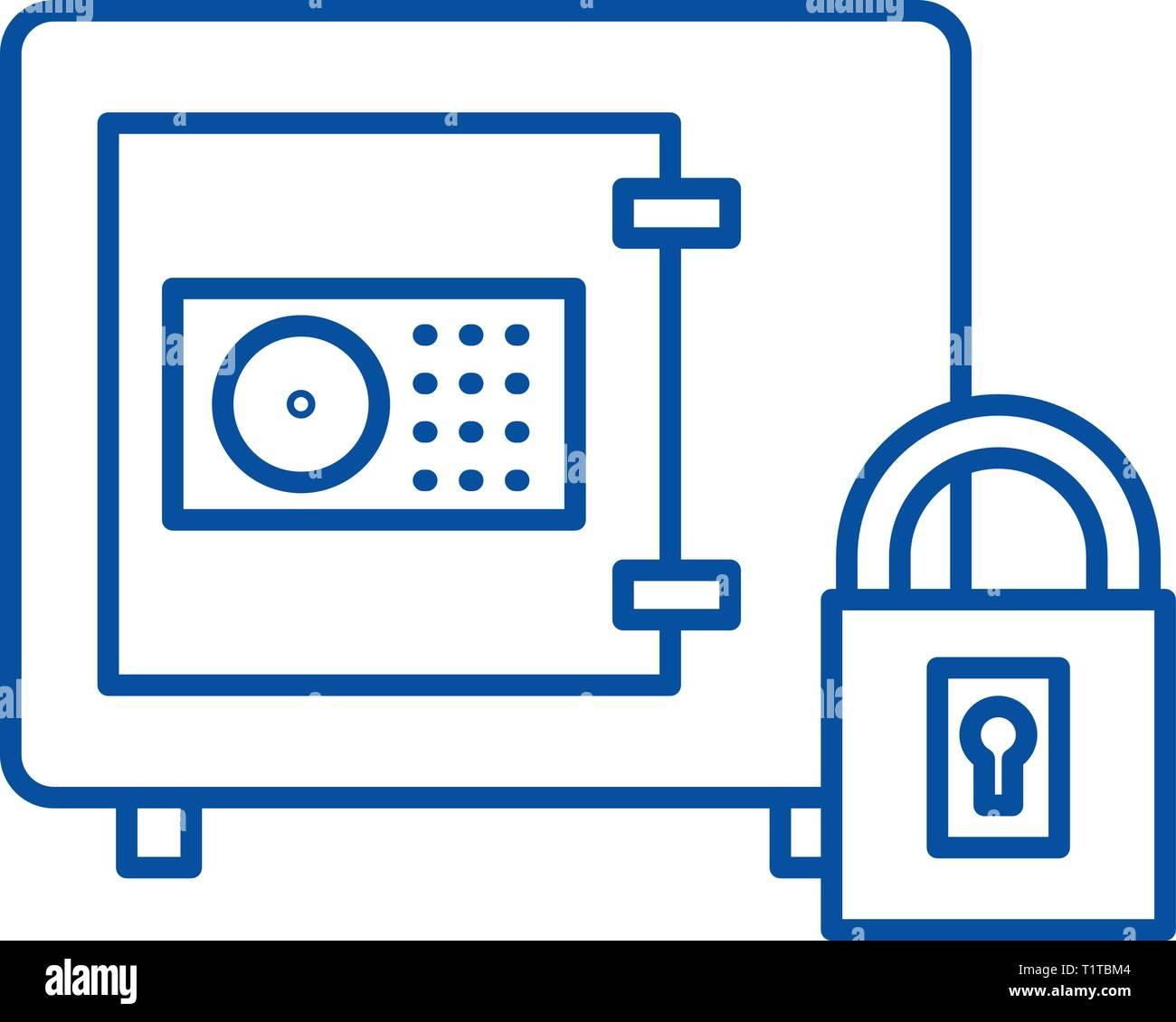 Safe bank line icon concept. Safe bank flat  vector symbol, sign, outline illustration. - Stock Vector