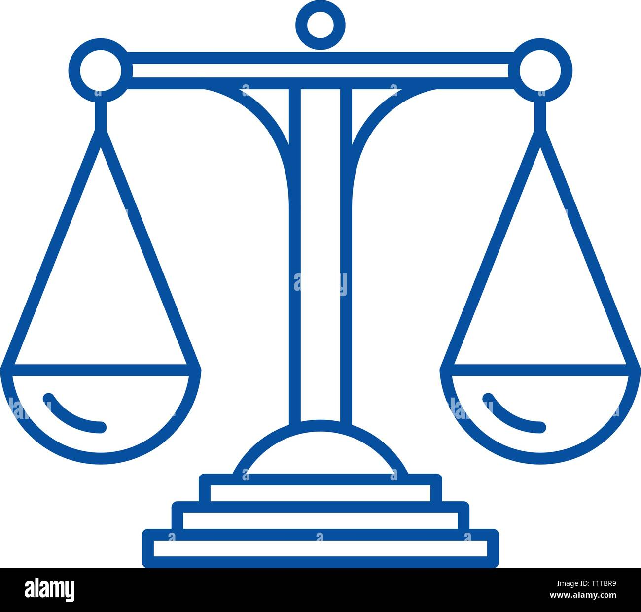 Scales of justice line icon concept. Scales of justice flat  vector symbol, sign, outline illustration. - Stock Vector