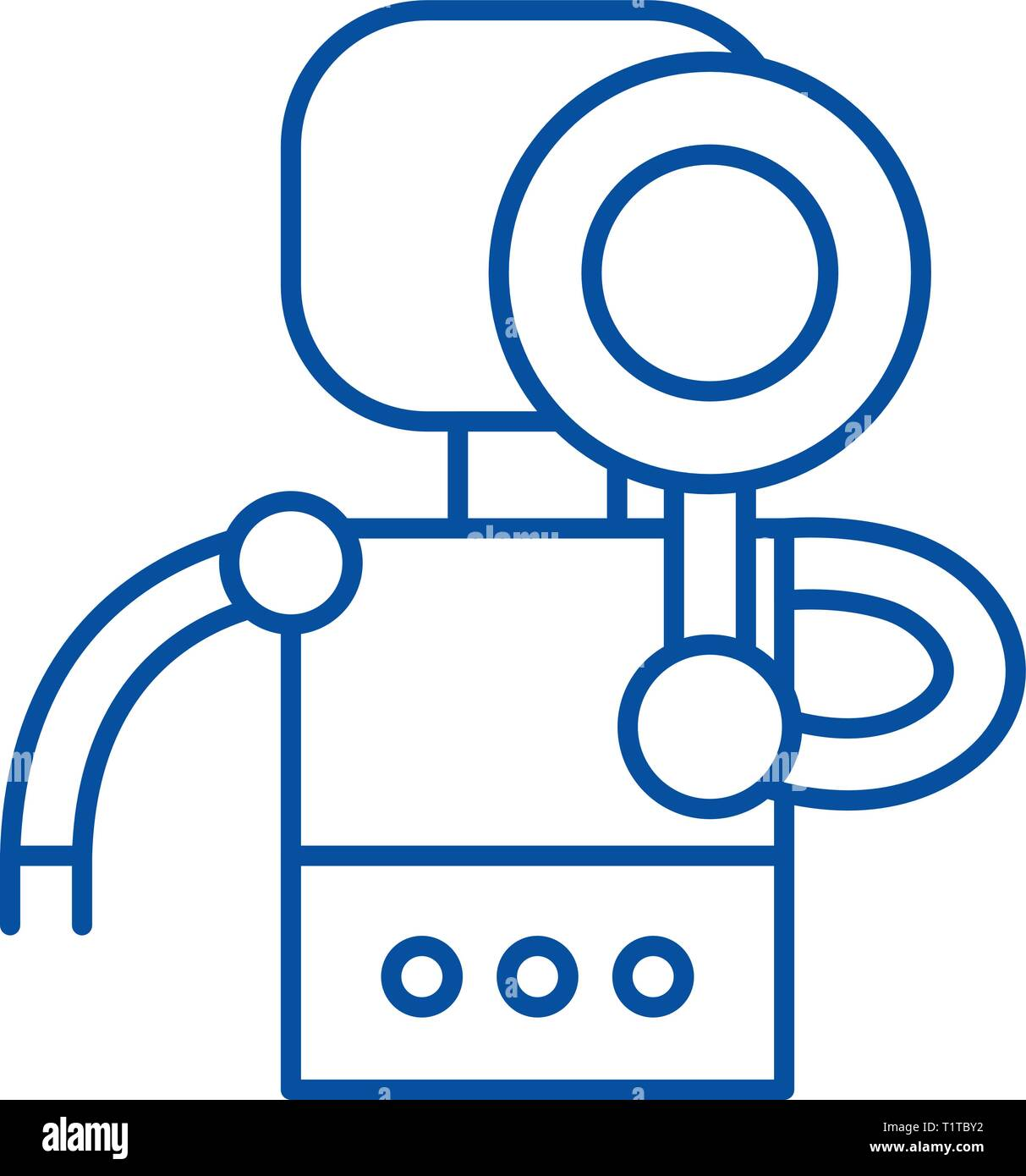 Search robot line icon concept. Search robot flat  vector symbol, sign, outline illustration. - Stock Vector
