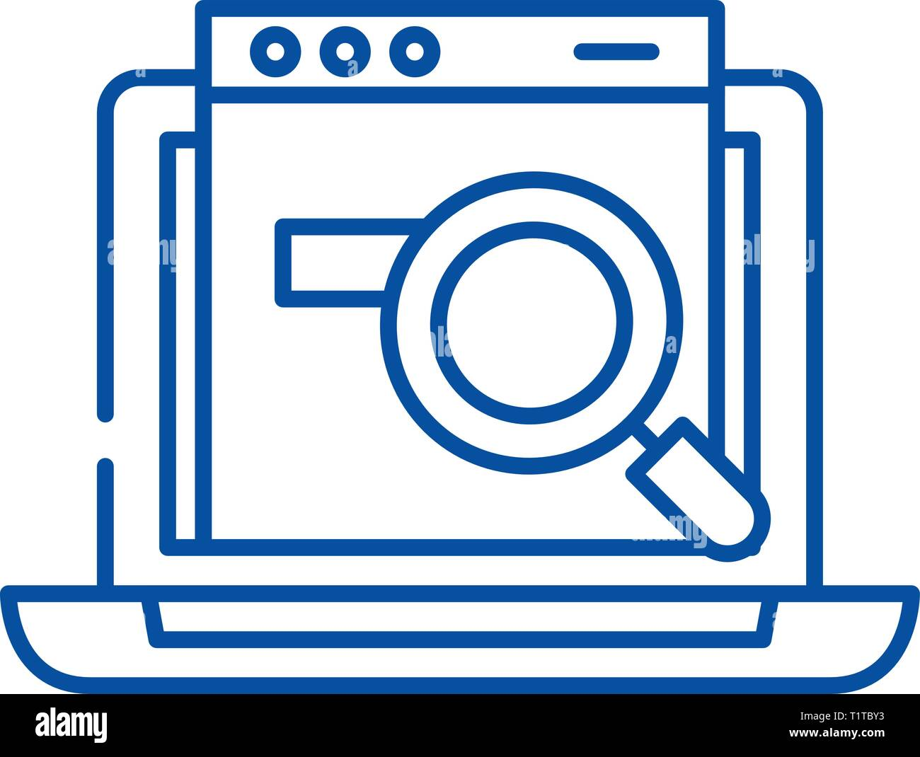 Search site line icon concept. Search site flat  vector symbol, sign, outline illustration. - Stock Vector