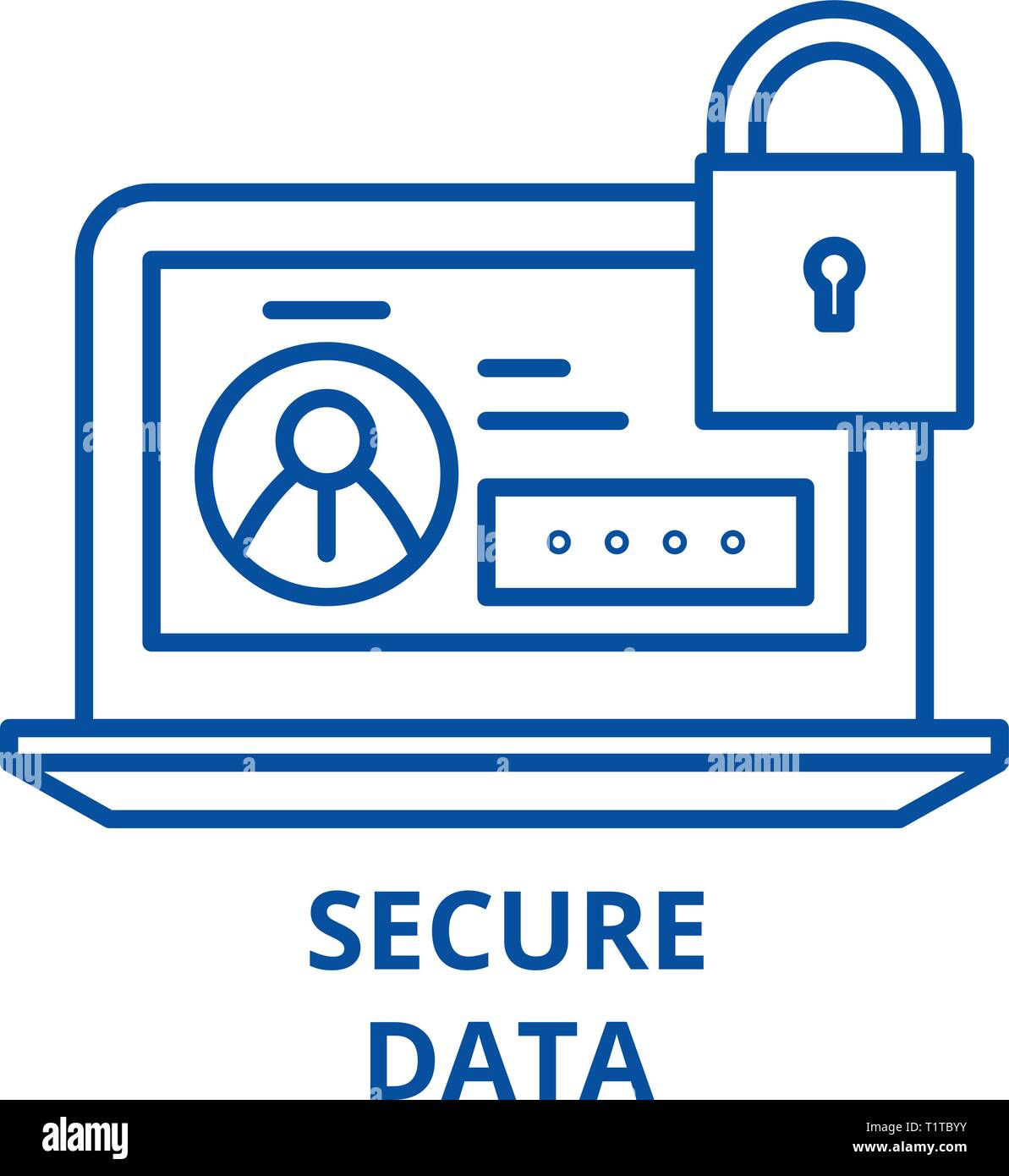 Secure data line icon concept. Secure data flat  vector symbol, sign, outline illustration. - Stock Vector