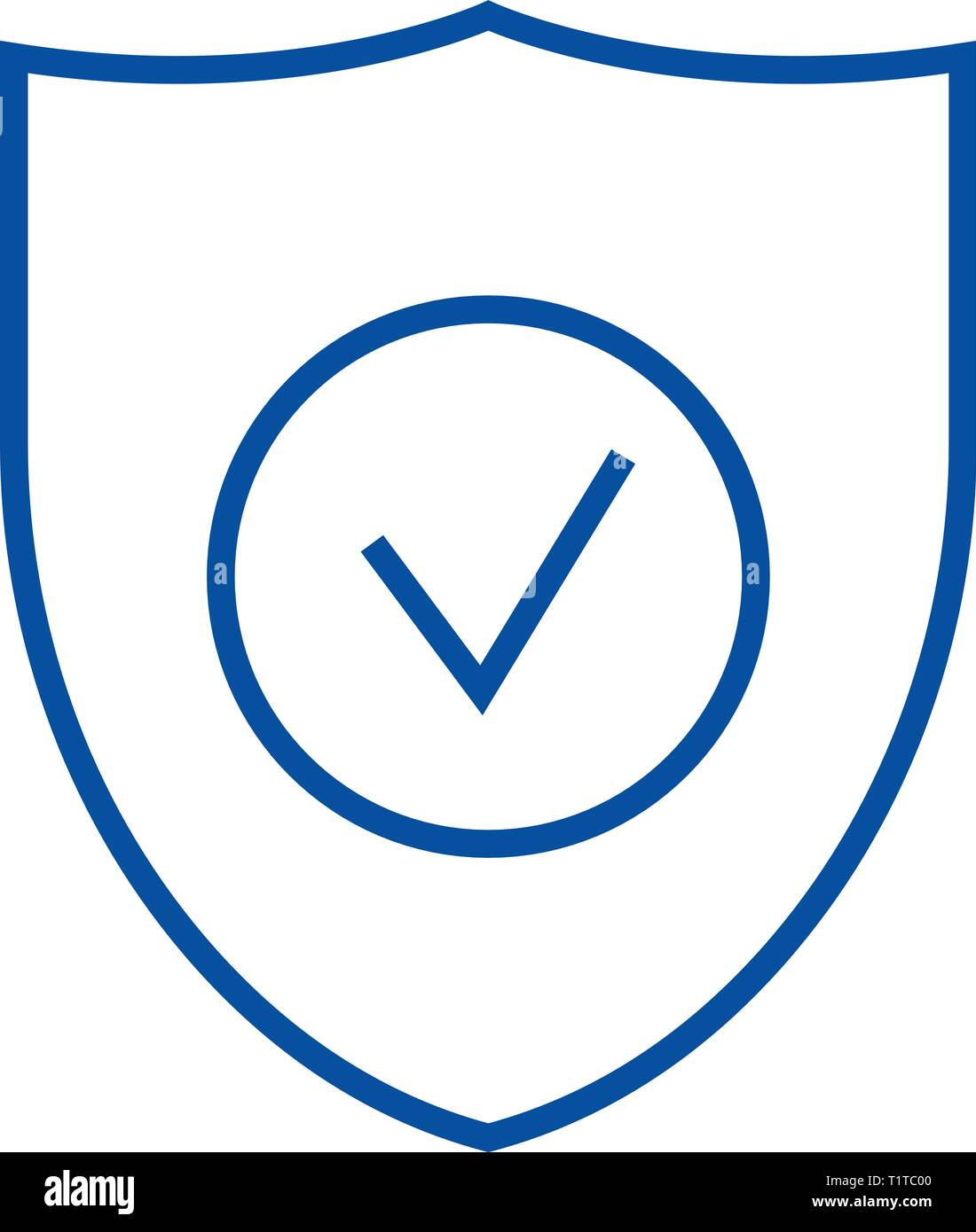 Secure shield line icon concept. Secure shield flat  vector symbol, sign, outline illustration. - Stock Vector