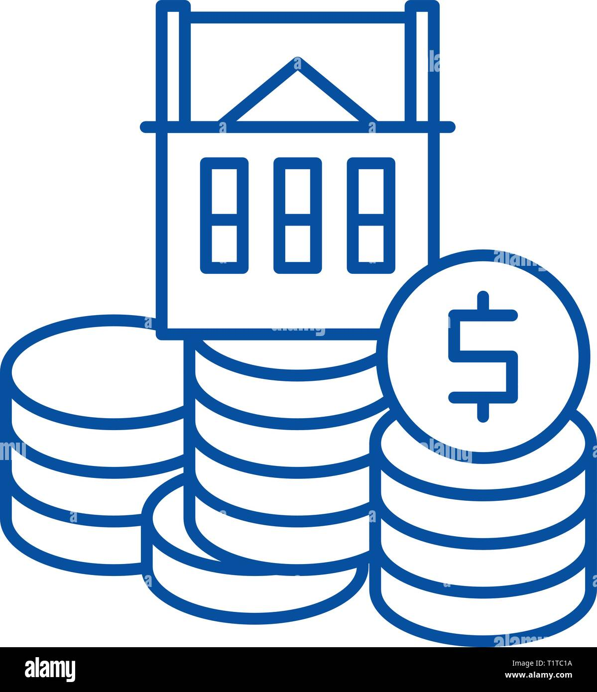 Selling a house line icon concept. Selling a house flat  vector symbol, sign, outline illustration. - Stock Vector