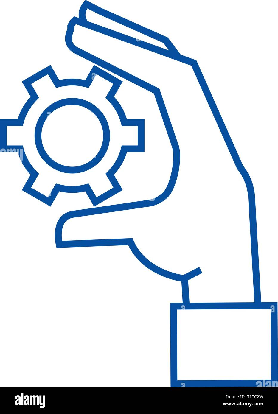 Settings gears in hand line icon concept. Settings gears in hand flat  vector symbol, sign, outline illustration. - Stock Vector